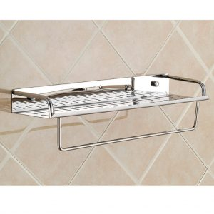 bathroom shelf with towel bar